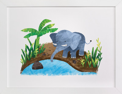 Elephant in the River Self-Launch Children's Art Print