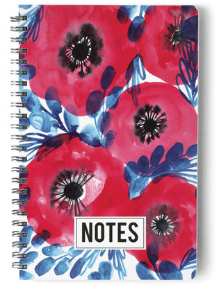 Red watercolor flowers Self-Launch Notebook