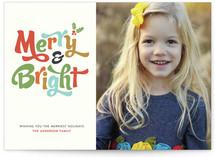 Merry + Bright Holiday Photo Card Custom Stationery