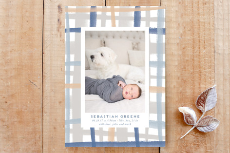 Rad Plaid Vertical Birth Announcement Custom Stationery