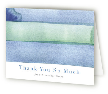 watercolor stripes Mitzvah Thank You Cards