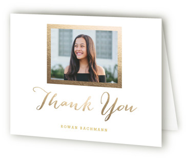Modern Photo Frame Foil-Pressed Mitzvah Thank You Cards