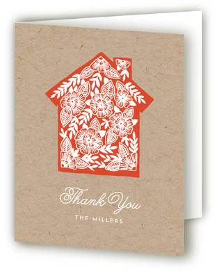 Floral Silhouette Moving Announcements Thank You Cards