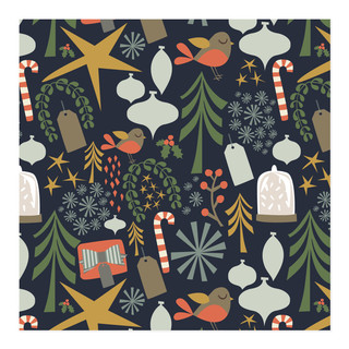 retro christmas - navy Self-Launch Wrapping Paper