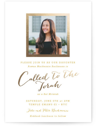 Modern Photo Frame Foil-Pressed Mitzvah Invitations