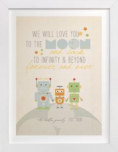 Robot Family Nursery Custom Art Print