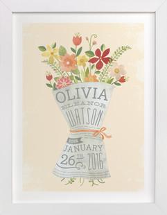 Newspaper Bouquet Nursery Custom Art Print