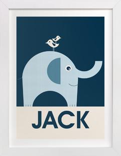 Friendly Elephant Nursery Custom Art Print