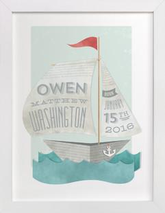 Newspaper Sailboat Nursery Custom Art Print