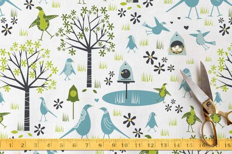 Birds on the Pond Fabric