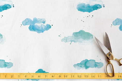 Watercolor Clouds Fabric