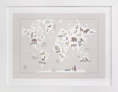 Animal World Map Nursery Art Print