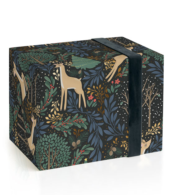 Reindeer Forest Foil-Pressed Wrapping Paper