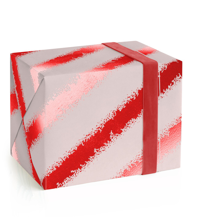 Shimmering Candy Cane Foil-Pressed Wrapping Paper