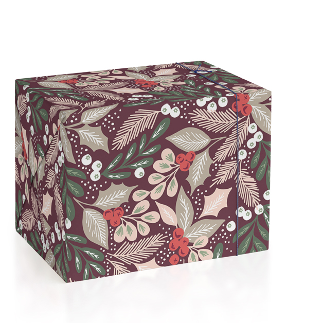 Pine Branch Berries Wrapping Paper