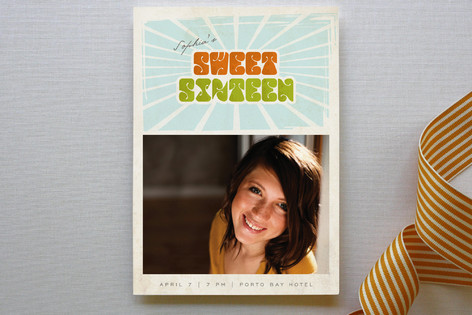 Seventies Sweet Sixteen Party Invitations