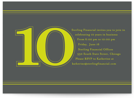 Celebrate 10 Years Party Invitations