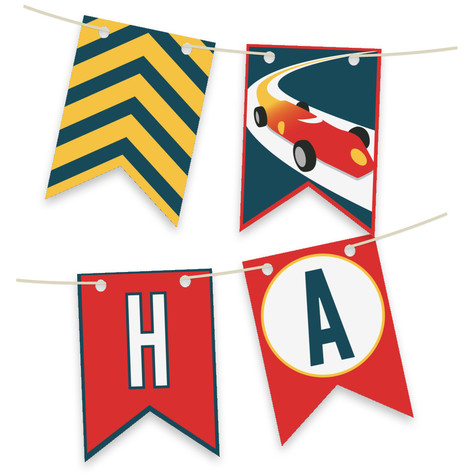 Vintage Race Car Personalizable Bunting Banner