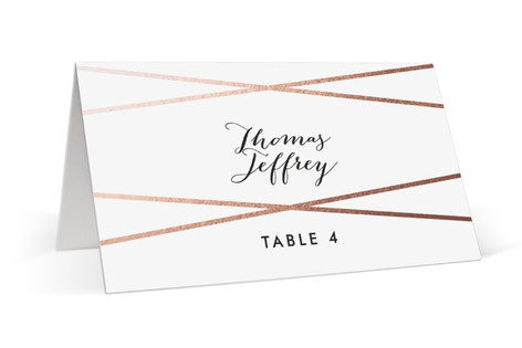 Crossed Foil-Pressed Place Cards