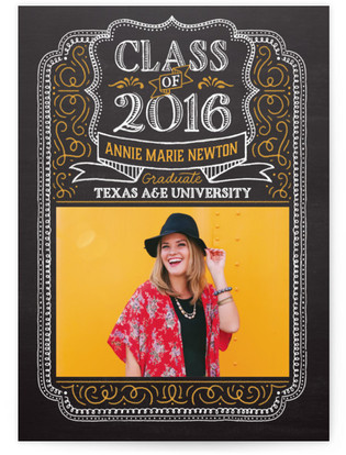 Chalk Drawn Frame Graduation Announcements