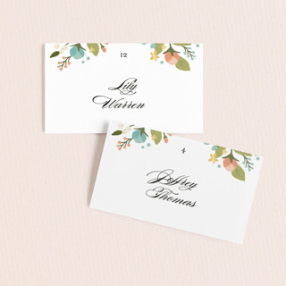 Floral Ampersand Wedding Place Cards