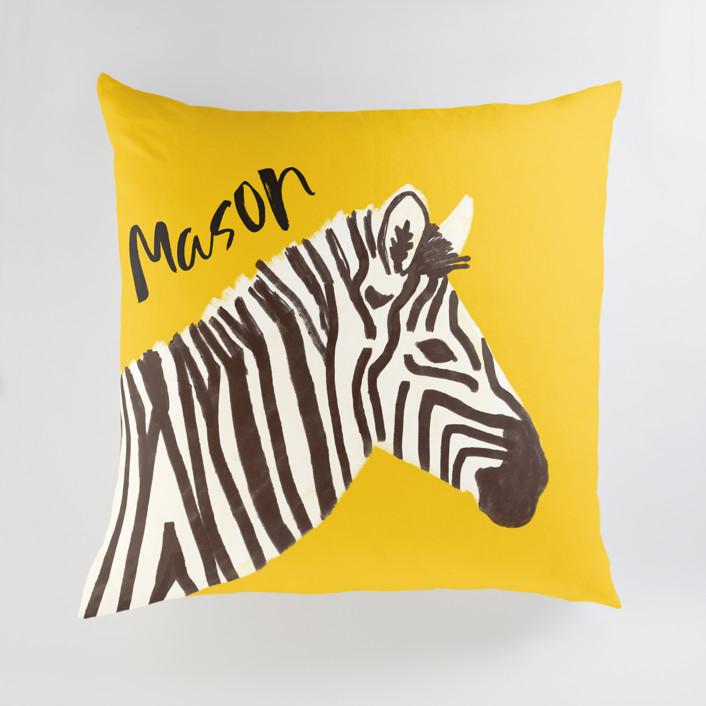 vibrant zebra Personalized Floor Pillows