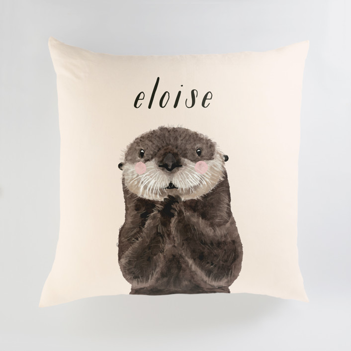 Baby Animal Sea Otter Personalized Floor Pillows