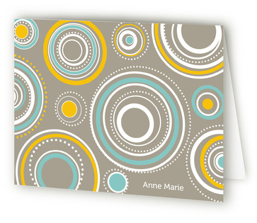 Simple Circles Folded Personal Stationery