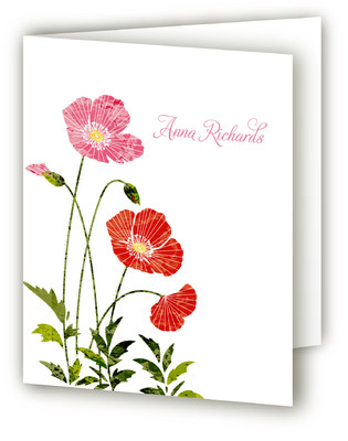 Textured Poppies Folded Personal Stationery