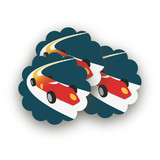 Vintage Race Car Scalloped Stickers