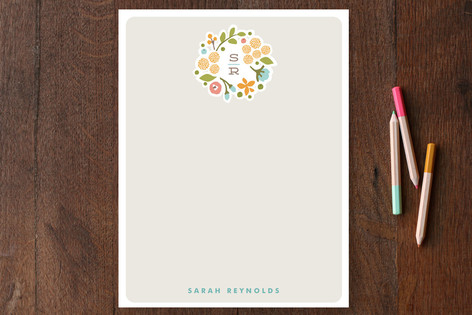 Cerulean Blooms Personalized Stationery