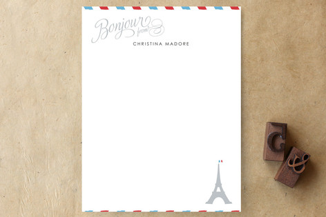 Petite Bonjour from Paris Personalized Stationery