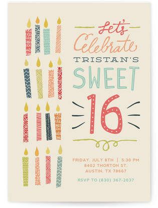 Sixteen Candles Sweet Sixteen Party Invitations