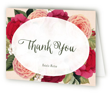 Vintage Botanicals Bridal Shower Thank You Cards
