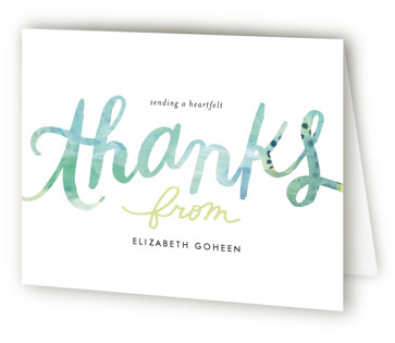Painted Script Swash Bridal Shower Thank You Cards