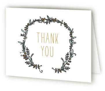 Woodland Wreath Bridal Shower Thank You Cards