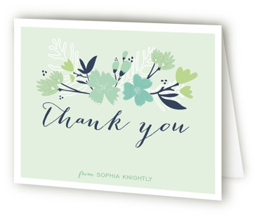 Sea Floral Bridal Shower Thank You Cards