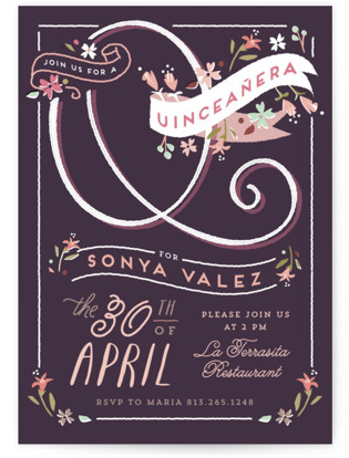 Floral Whimsy Quinceaera Invitations