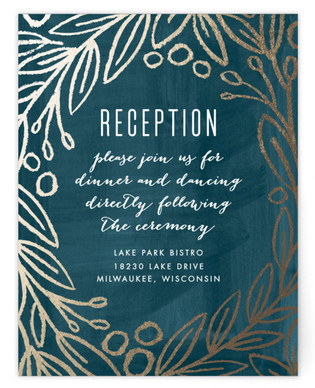 Midnight Foliage Foil-Pressed Reception Cards