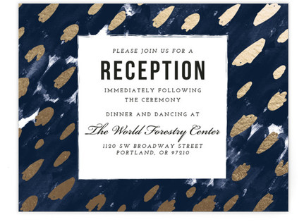 Midnight And Gold Foil-Pressed Reception Cards