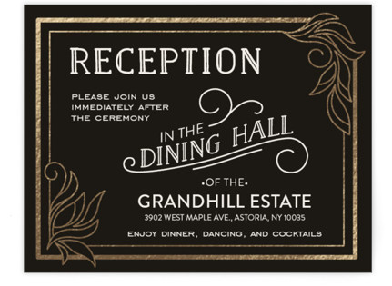 Antique Lines Foil-Pressed Reception Cards