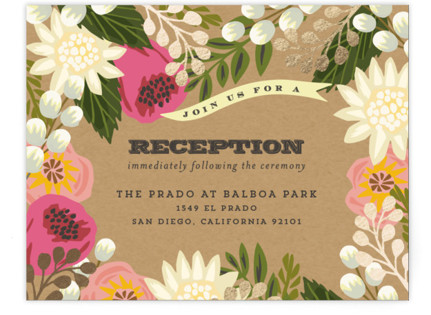 Floral Canopy Foil-Pressed Reception Cards