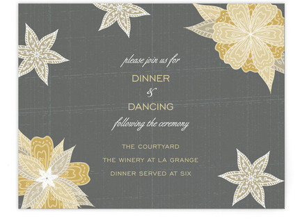 Charcoal and Floral Reception Cards
