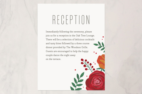 Bold Florals Reception Cards