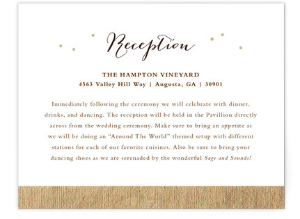Gold + Pine Reception Cards