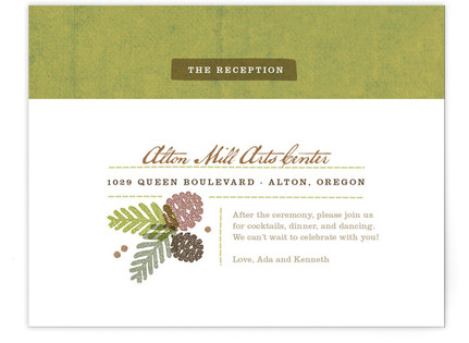 Rustic Pinecones Reception Cards