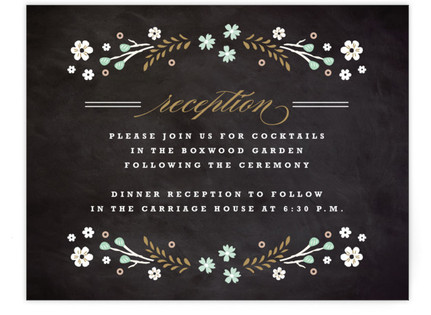 Chalkboard Floral Reception Cards
