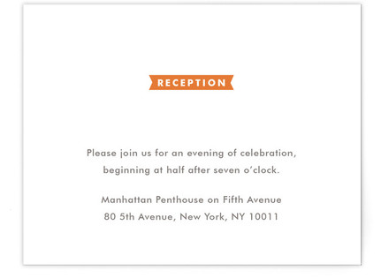 Modern Ribbon Reception Cards