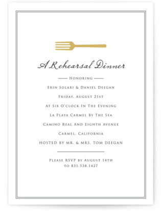 A Gold Fork Rehearsal Dinner Invitations