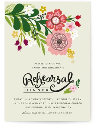 Festive Florals Rehearsal Dinner Invitations